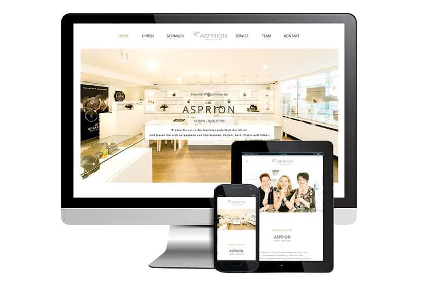 Webdesign und Online Shop für Asprion Bijouterie